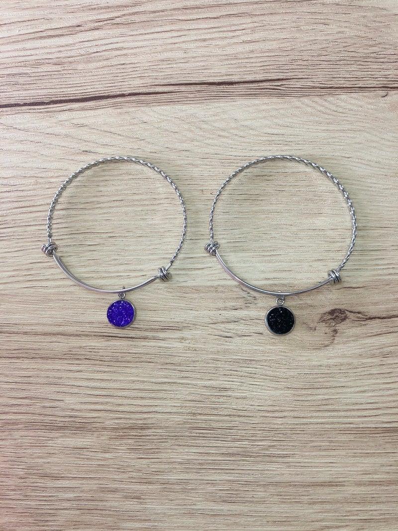 Druzy Charm Bangle Bracelet