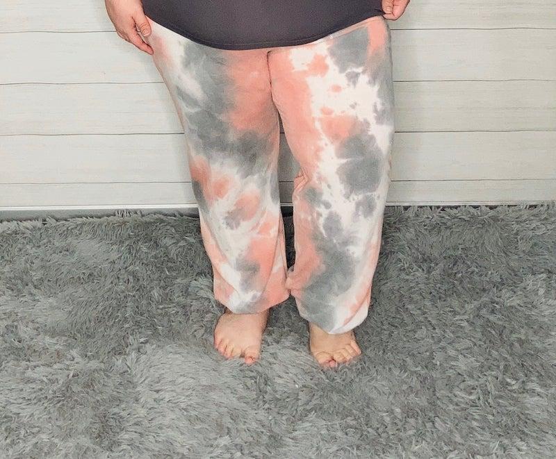 Coral/Grey Tie Dye Joggers