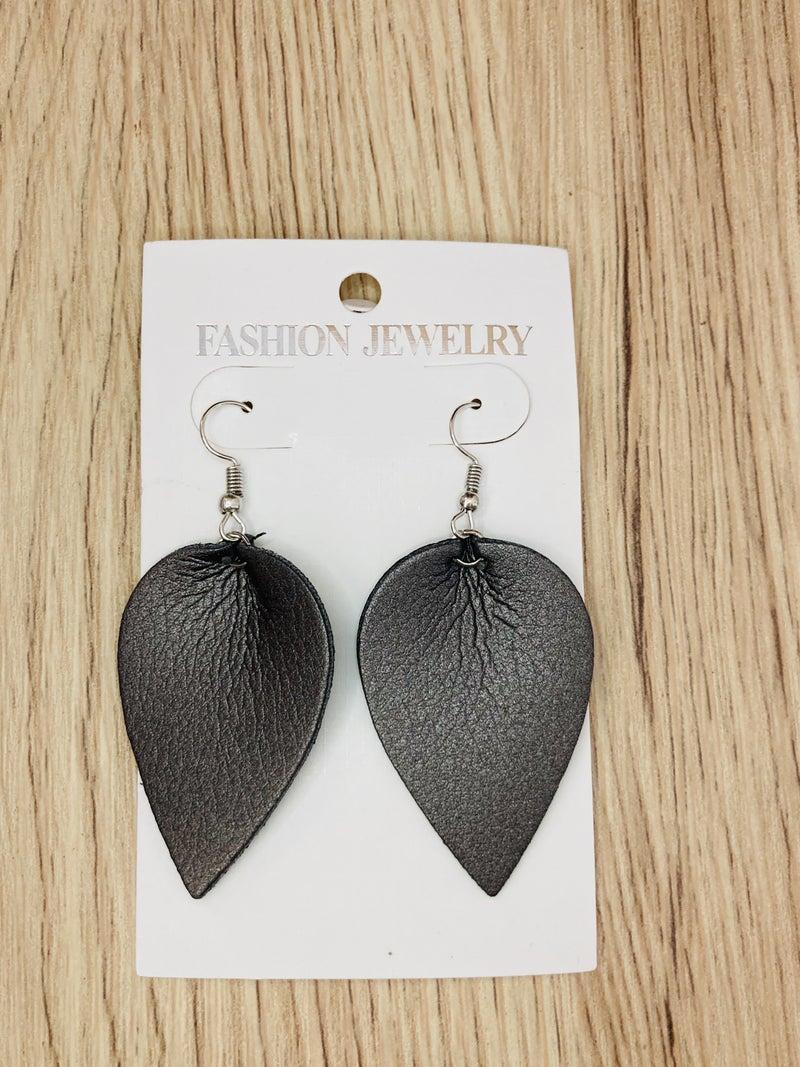Gunmetal Metallic Leaf Drop Earrings