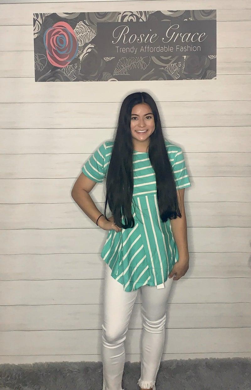 Seafoam Green & White Striped Tunic *Final Sale*