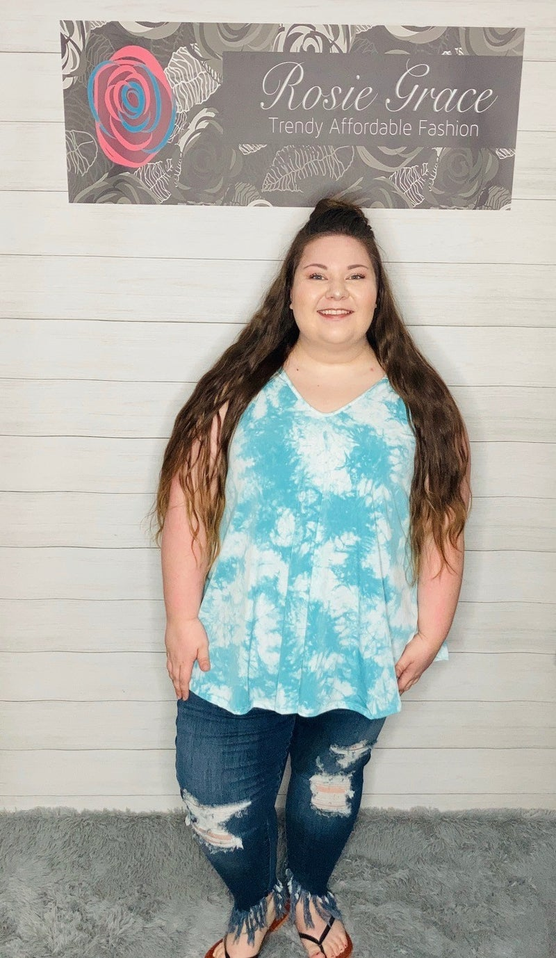 Turquoise Tie Dye V-Neck Swing Sleeveless Top