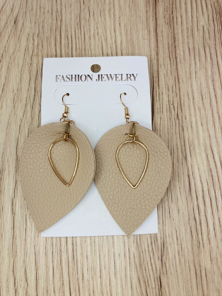 Tan Leaf Earrings
