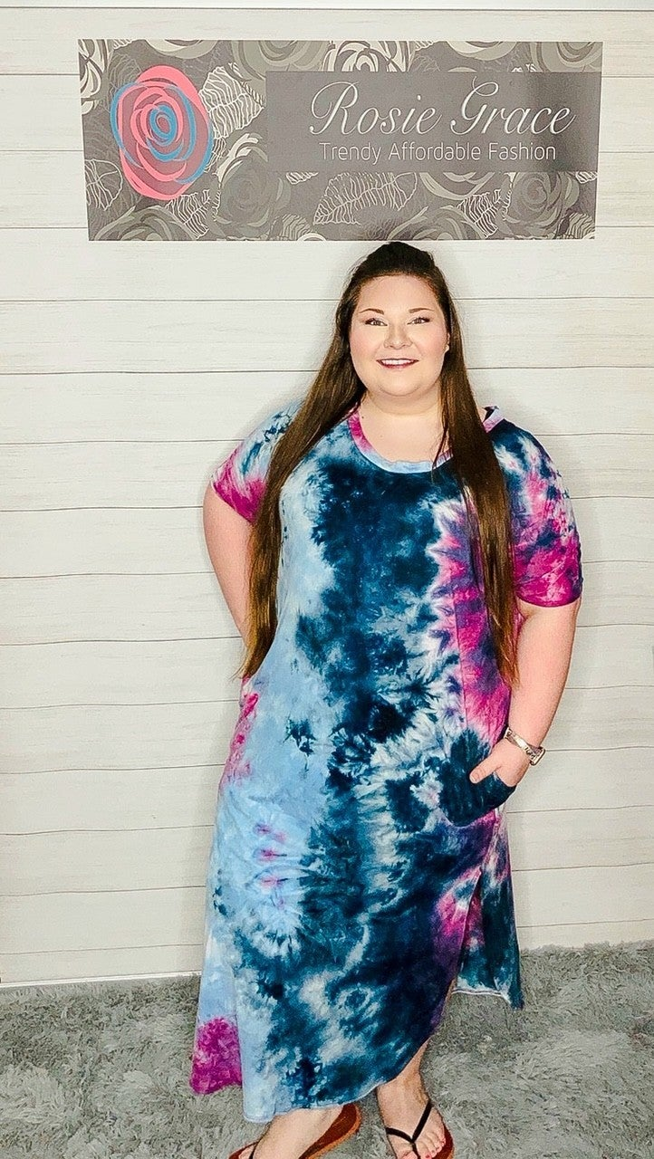 Purple Smoke Tie Dye Maxi Dress
