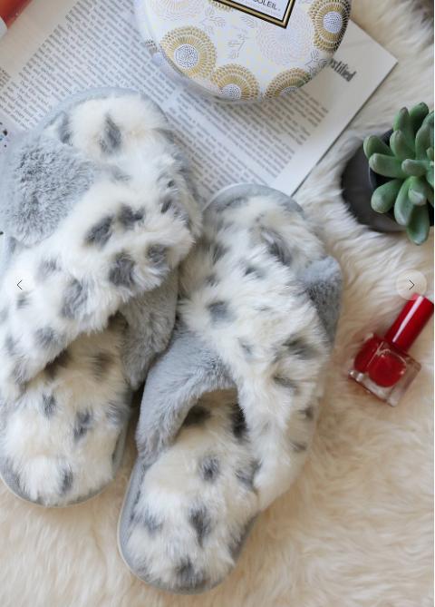 Grey Animal Criss Cross Fur Slippers
