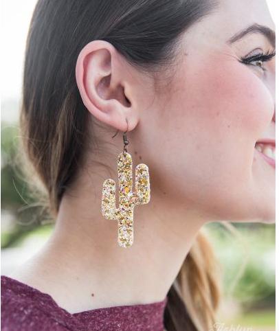 Gold Glitter Cactus Earrings
