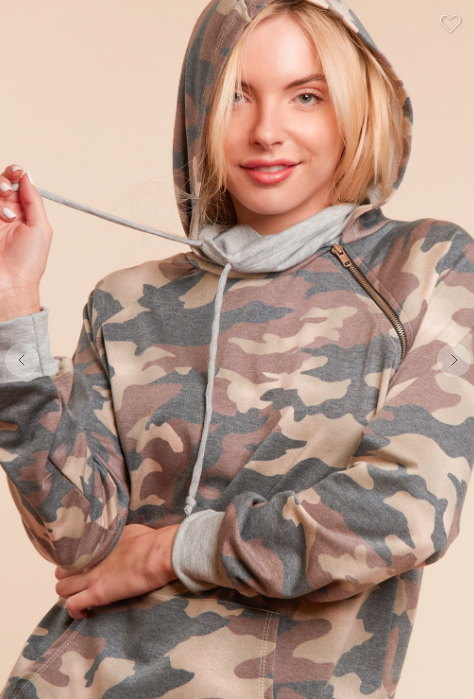 Camo Raglan Zipper Detail Double Neck Hoodie