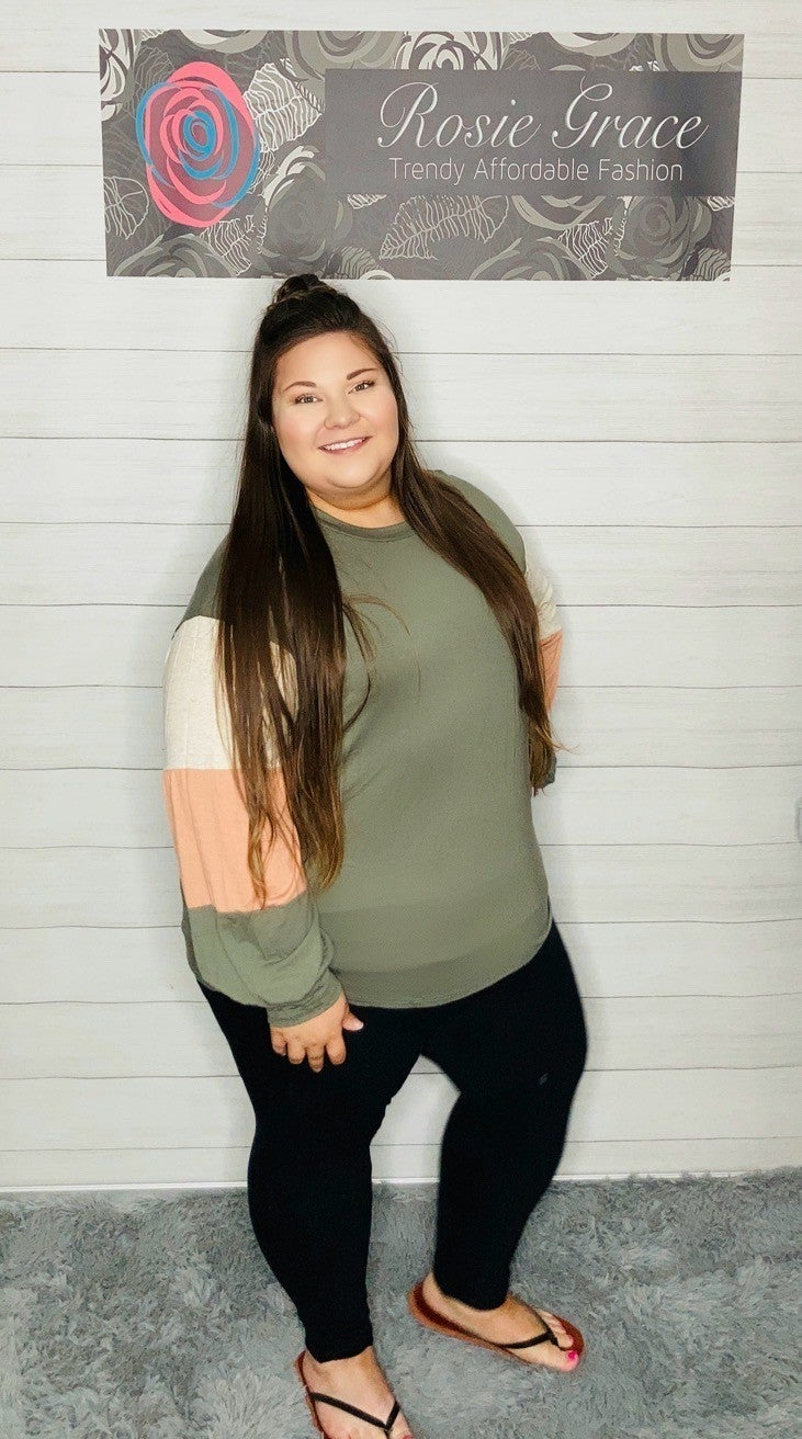 Olive Color Block Balloon Sleeve Top