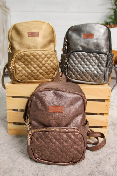 Quilted Metallic Backpack *Final Sale*
