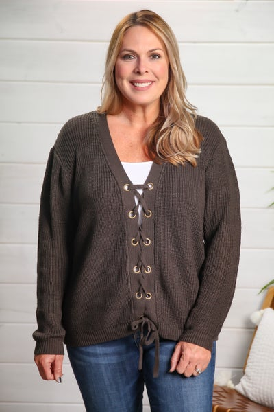 Come On Fall Sweater Charcoal *Final Sale*