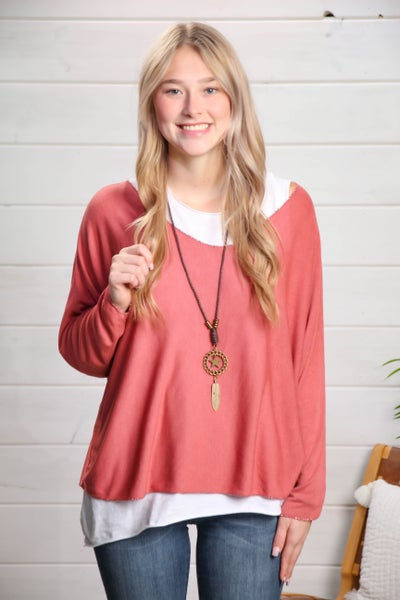 The Perfect Classic 2 Piece Top w/ Necklace Rose *Final Sale*