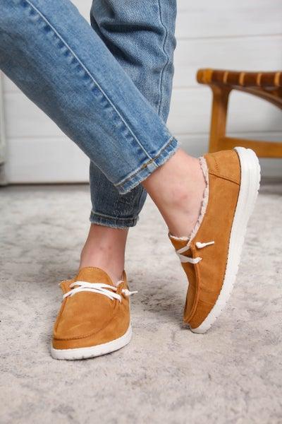 Hey Girl Shoes Sherpa Suede Tan