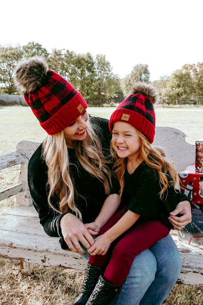 Have You Heard Black/Red Plaid Beanie Mommy & Me