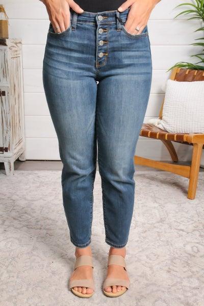 Side Glance Button Fly High Rise Boyfriend Jeans *Final Sale*