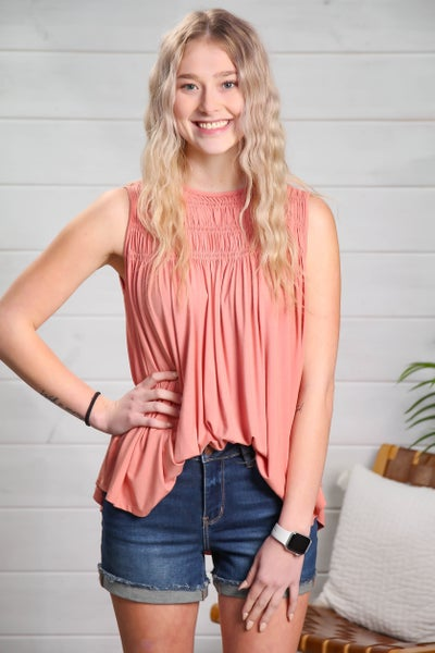 Simple & Stylish Sleeveless Top Mauve