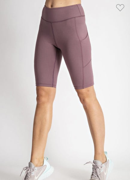 Call Me Sassy Biker Shorts w/ Side Pocket Mauve