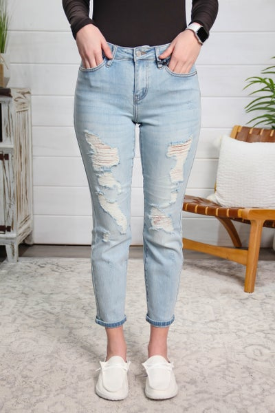 Always Confident In Distressed Mid Rise Boyfriend Fit Jeans