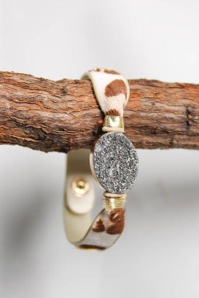 Erimish Bracelet Tan Cow w/ Silver Druzy