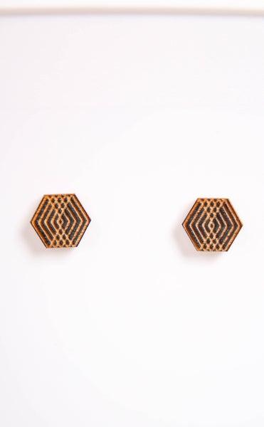 Laser Cut Wood Earrings GP4 Stud