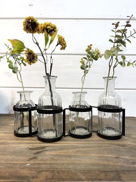 Set of 4 Glass Vases w/Metal Holder