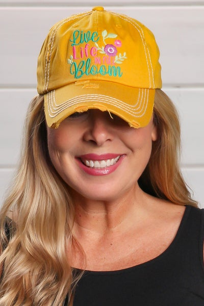 Live Life In Full Bloom Cap Mustard *Final Sale*