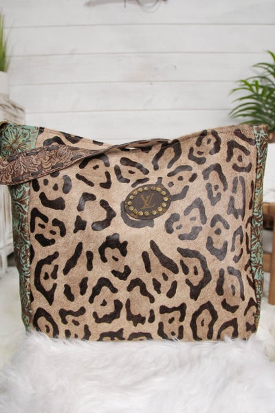 Upcycled Tote w/ Guitar Strap Leopard & Turquoise