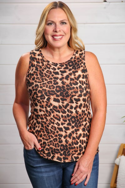 Radiant Soul Tank Brown Leopard