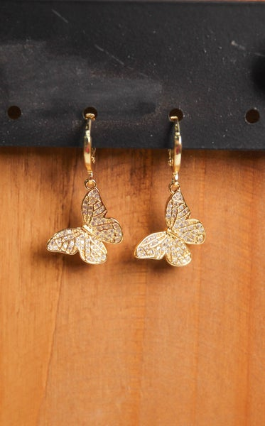 Butterfly Pave' Huggies Earrings Gold