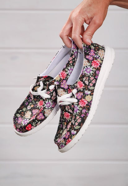 Hey Girl Shoes Black Floral