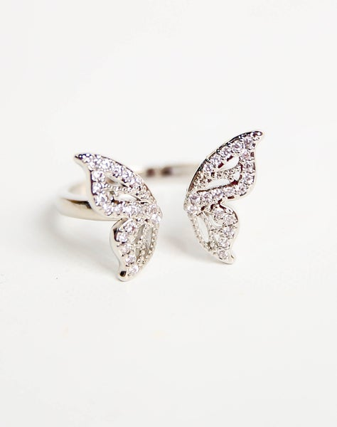 Double Butterfly Ring Silver