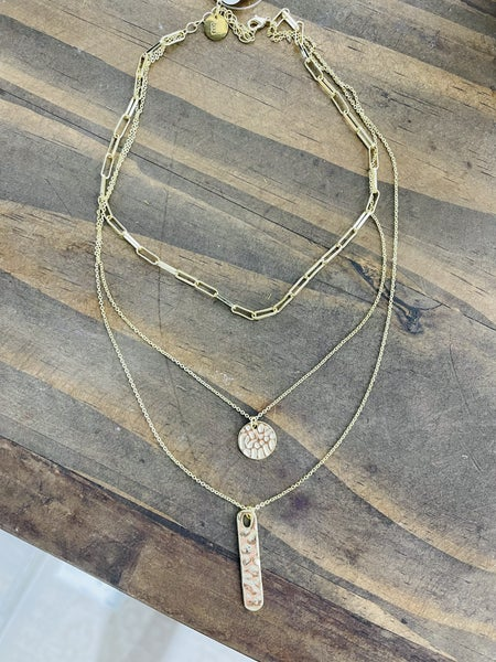 Triple Threat Layered Necklace Gold