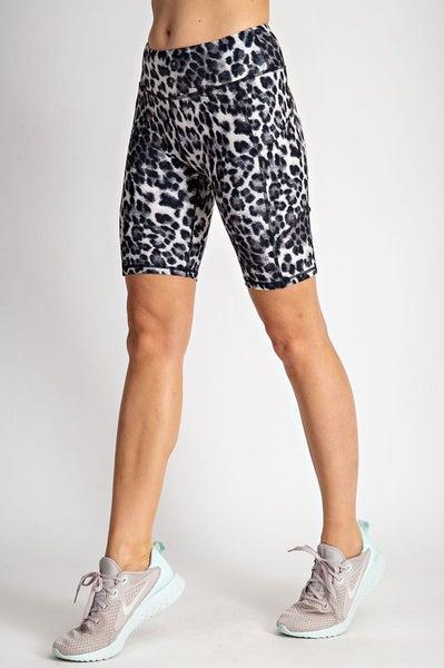 Call Me Sassy Biker Shorts w/ Side Pocket Snow Leopard