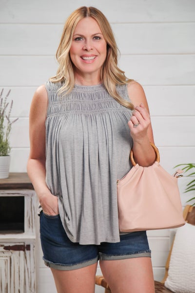 Simple & Stylish Sleeveless Top Grey