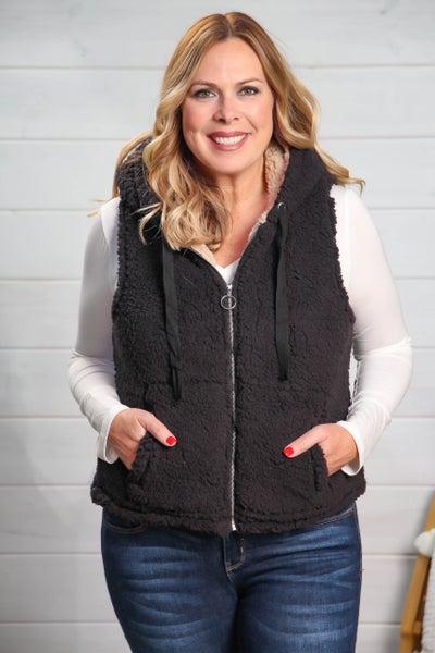 Teddy Bear Sherpa Vest Black *Final Sale*