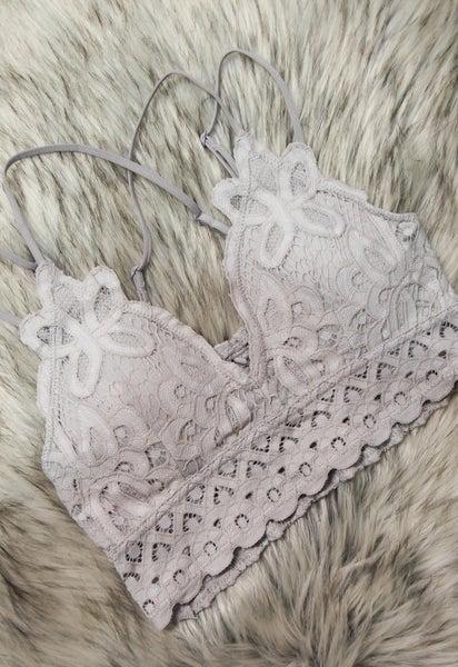 Lovely in Lace Bralette Grey *Final Sale*