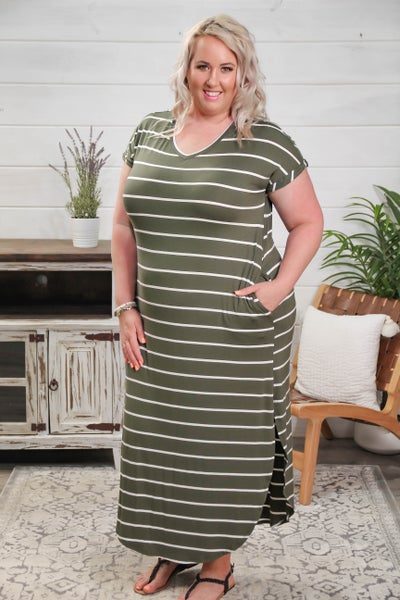 The Stripes of Life Maxi Dress Forest Green