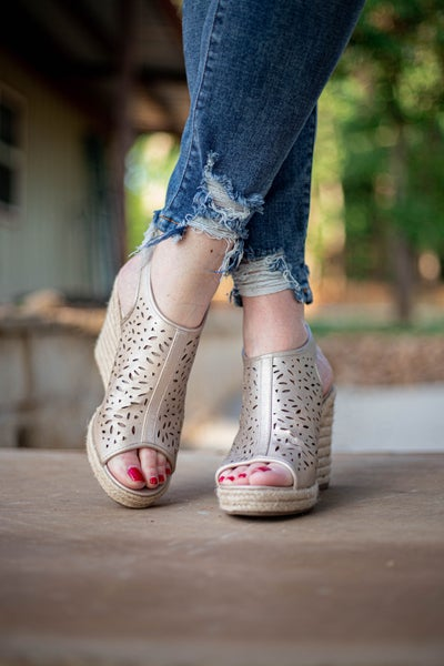 All That Glitters Espadrille Wedges *Final Sale*