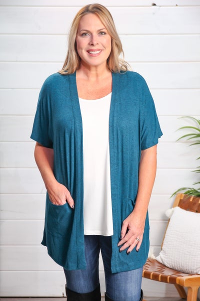 Nothing Going On Cardigan Teal *Final Sale*