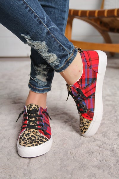 Express Your Attitude Leopard and Plaid Sneakers *Final Sale*
