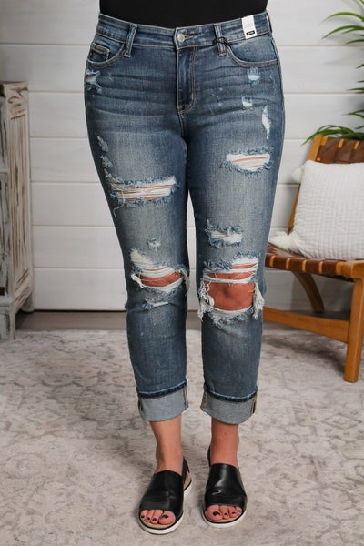 Takin' A Break Mid Rise Boyfriend Jeans