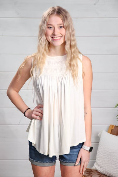 Simple & Stylish Sleeveless Top Off White