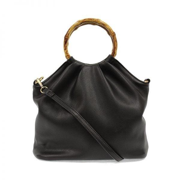 Bamboo Handle Pouf Bag Black