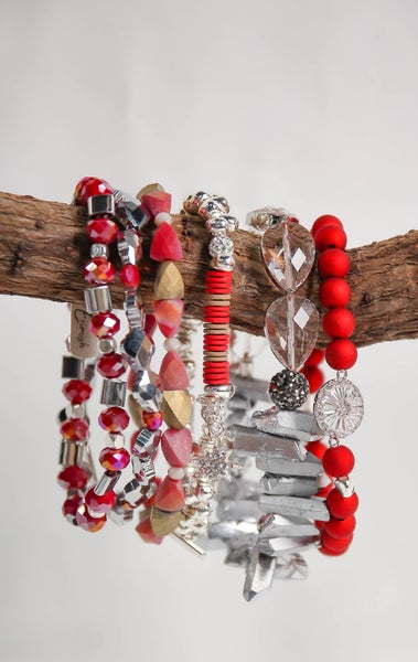 Erimish Stack Tinsel Red Extended