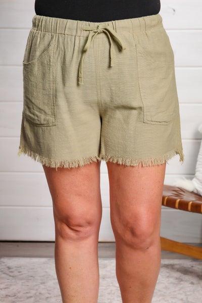 A Little Frayed Shorts Sage
