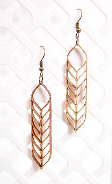 Laser Cut Wood Earrings Barley Open
