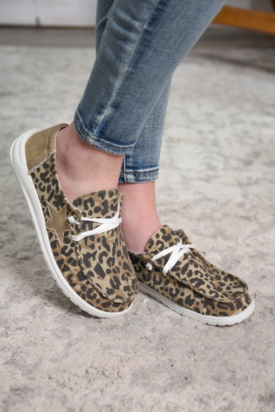 Hey Girl Shoes Leopard Star Tan