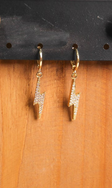 Lightning Bolt Pave Huggies Earrings Gold