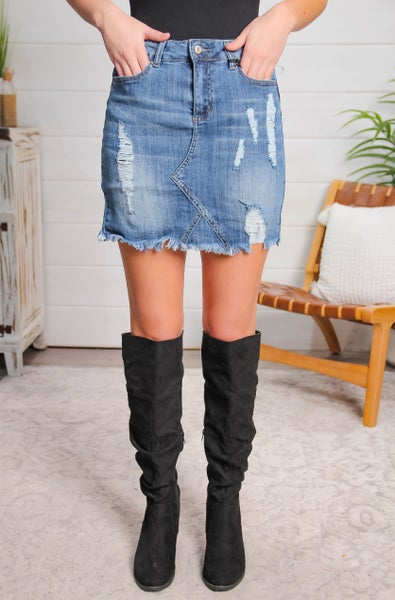Sincere and Sweet High Rise Denim Skirt *Final Sale*