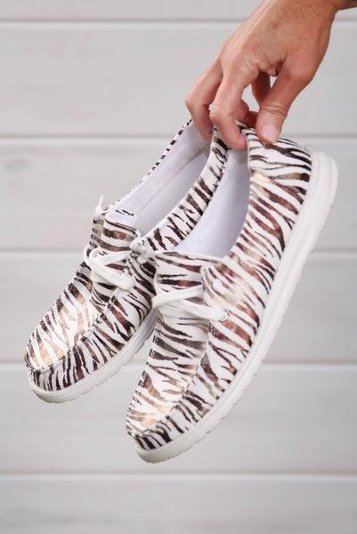 Hey Girl Shoes Bronze Zebra