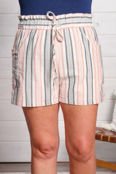 Sassy Stripes Shorts (Navy/Pink)