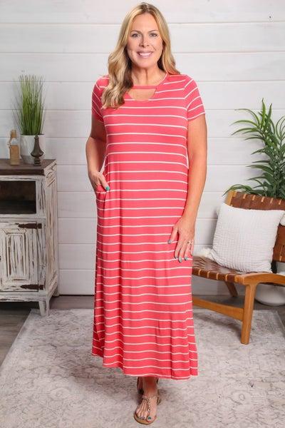 Walk The Line Maxi Dress Coral *Final Sale*